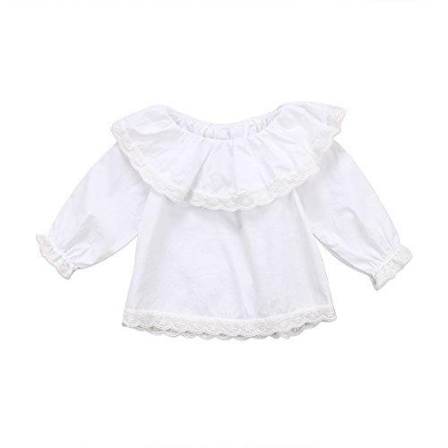 Wide.ling Peuter Baby Meisje Kraag Top Shirt, Lange Mouw Ruche Bodysuit Blouse Kleding
