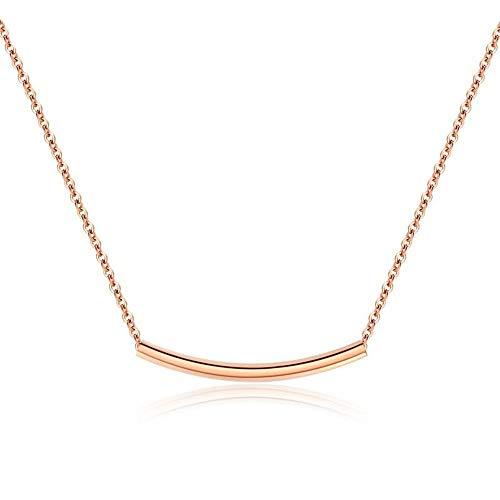 SUIWO Collar de señoras Simple Collar Collar de Cadena Colgante de Collar de Las Mujeres del Cuello de la Cadena de Mujeres Accesorios de Acero de Titanio clavícula Corta Cadena