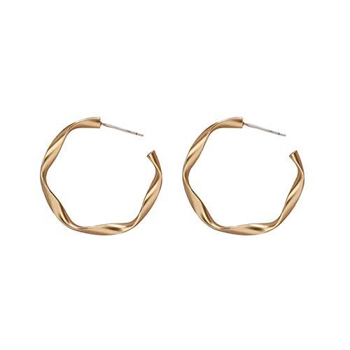 QIN S925 Post Metal Pendientes de aro Retro para Mujer pequeños Pendientes Colgantes de círculo diseño de nicho Pendientes Simples Regalo de la joyería del Banquete de Boda