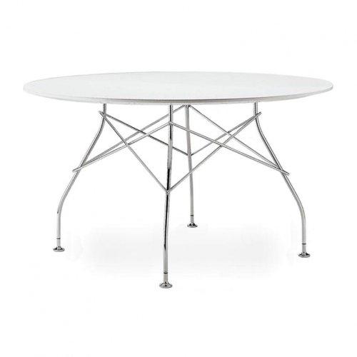 Glossy eettafel rond frame zilver H 72cm/Ø 130cm/Gestell Stahl vechromt Weiß/Laminat Lackiert