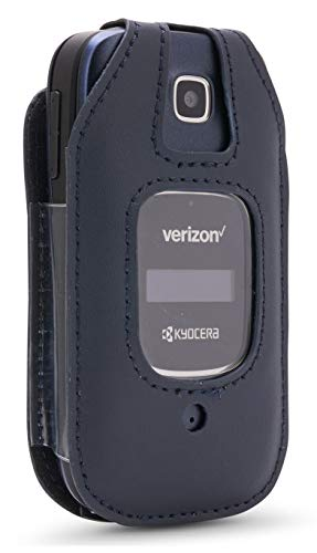 BELTRON Leather Fitted Case for Kyocera Cadence 4G LTE S2720 Verizon Flip Phone - Features: Rotating Belt Clip, Screen & Keypad Protection, Secure Fit - (Blue)