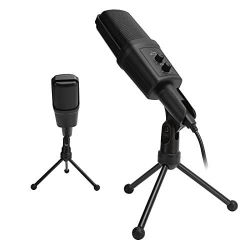 有線スタンドマイク、オンラインゲームのビデオ会議用ネットワークブロードキャスト用のLEDインジケーター付き折りたたみ式三脚付きUSBマイク(black, Pisa Leaning Tower Type)