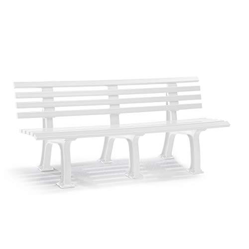 Parkbank aus Kunststoff - mit 9 Leisten - Breite 2000 mm, weiß - Bank Bank aus Holz, Metall, Kunststoff Bänke aus Holz, Metall, Kunststoff Gartenbank Kunststoff-Bank Kunststoff-Bänke Ruhebank