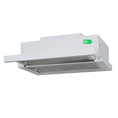 Allcata TFH 6630 A+ Einbau-Teleskop-Haube Dunstabzugshaube 60 cmTouch Control 6 Leistungsstufen LED-Display und LED-Beleuchtung/bis 1000 m³/h sparsam 90W (white)