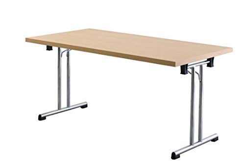 Büro-Klapptisch DR-Büro - Maße 160 x 80 cm - 2 Farbvarianten - Höhe einstellbar 73,5 cm - Gestell Silber - leicht zusammenklappbar - Besprechungstisch, Farbe Büromöbel:Buche