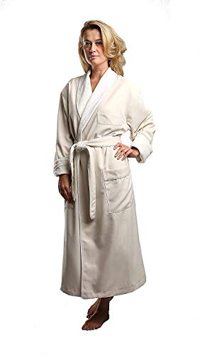 Terry Lined Microfiber Hotel Robe - Luxury Spa Bathrobe by Monarch/Cypress (Medium, Natural)