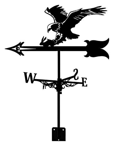 WeatherVane con metal WeatherCock Garden Soporte de techo Vane de la veleta Indicador de dirección del viento, retro BOW Bald Eagle Forma Metal WeatherCock Garden, Creative Acero inoxidable Decoración