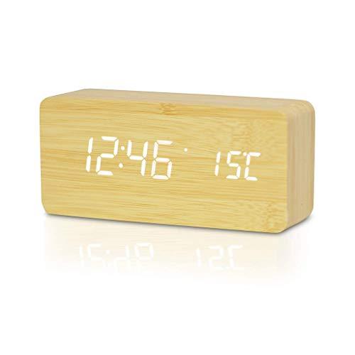 Timedecor Hölzerner geführter digitaler Wecker, elektronische Nicht tickende Uhren, Zeittemperatur u. Ampere-Kalender-Modus, für Nachtküche-Büro-Kinder