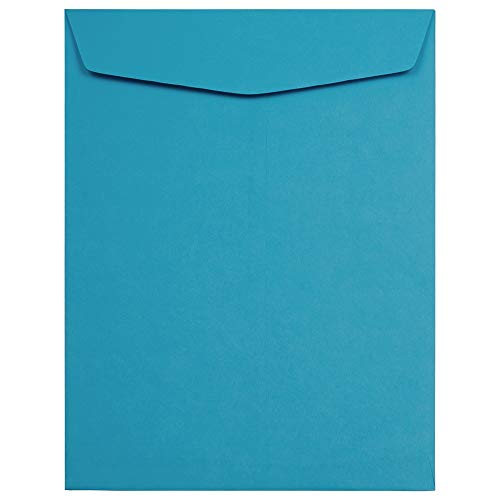 JAM PAPER 10 x 13 Open End Catalog Colored Envelopes - Blue Recycled - 10/Pack