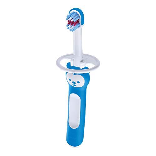 Mam Baby'S Brush - Cepillo de dientes con anillo de seguridad, 6 meses, azul