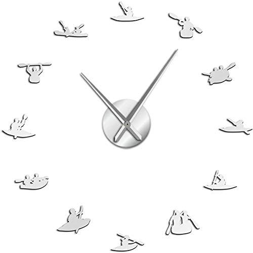 Relojes De Pared Gran Canoa Rafting Deportes Acuáticos Kayak Diy Reloj De Pared Grande Con Efecto Espejo Kayakers Reloj Gigante Sin Marco Con Agujas Grandes Reloj Adecuado Para Oficina De Estudio