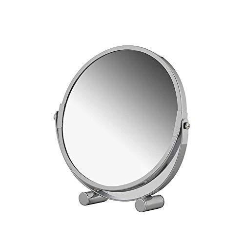 axentia Vergrößerungs-Standspiegel - Kosmetikspiegel mit 3-fach Vergrößerung - Schminkspiegel verchromt - Vergrößerungsspiegel rund ca. 17 cm Ø - Rasierspiegel für Badezimmer - Bad-Spiegel aus Chrom
