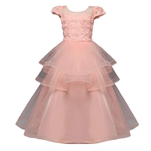 AmyGline AmyGline Mädchen Kleider Rock Kinder Mädchen Ärmelloses Kleid Rose Mesh Kleid Brautkleid Prinzessin Kleid Party Tutu Kleid Kleidung 5-14 Jahre