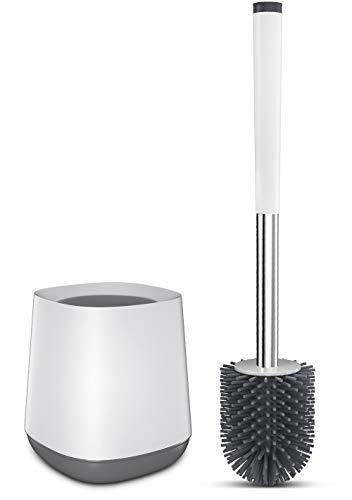 Kelisidunaec Toilettenbürste, Silikon WC Bürste und Halter mit schnell trocken Behälter und Edelstahl Griff,Premium Klobürste – Weiß/Grau