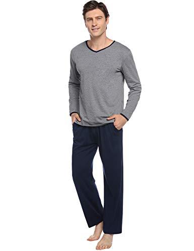 Abollria Pijamas Hombre Algodón 2 Piezas Mangas Larga Pantalon Largo Invierno Cómodo y Agradable (L, Azul Oscuro_3)
