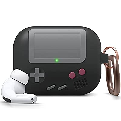 elago AW5 Case Compatible with Apple AirPods Pro Case, Classic Handheld Game Console Design Case with Keychain [US Patent Registered] - Black by Elago