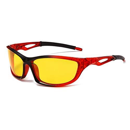 Gafas de sol deportivas polarizadas para ciclismo, correr, conducir, hombres y mujeres, visión nocturna (negro, rojo, amarillo)
