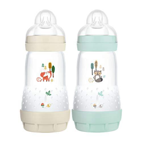 MAM Easy Start Anti-Colic Elements Babyflasche im 2er-Set (260 ml), Milchflasche für die Kombination mit dem Stillen, Baby Trinkflasche mit Bodenventil gegen Koliken, 0+ Monate, Fuchs/Waschbär