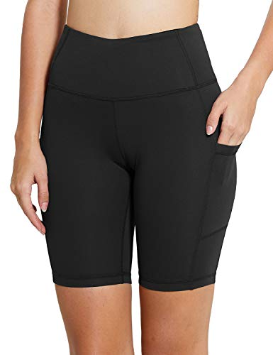 "BALEAF Women's 8"" Yoga Shorts with Pockets High Waist Biker Workout Running Tights-Black-M"