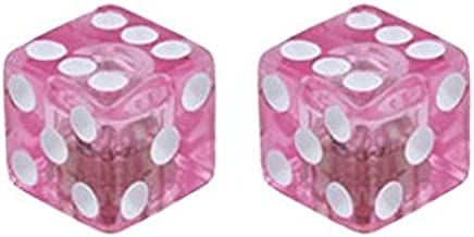 Lowrider Dice Valve Caps Clear/Pink.