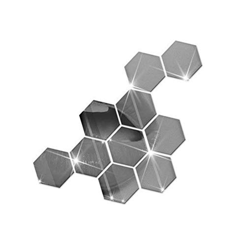 LPxdywlk 10 Stück Abnehmbare Acryl Wandaufkleber 3D Spiegel Sechseck Aufkleber DIY Aufkleber Home Decor Silber 80x70mm