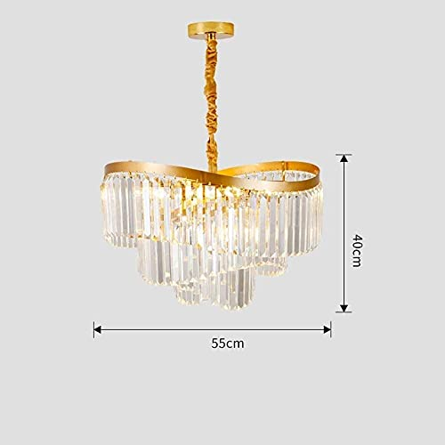 LLLKKK Lámpara de araña de cristal estilo postal, luz LED sencilla, de cristal dorado, estilo nórdico, dormitorio, restaurante, villa, lámpara de techo (color: B)