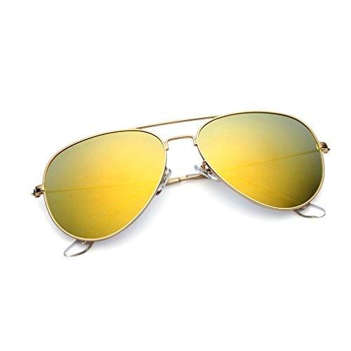 Gafas de sol Glasses Gafas de sol polarizadas metálicas Gafas de sol Oval Classic Gafas de sol polarizadas para hombres y mujeres Gafas de sol para viaje al aire libre Gold frame gold polarizer (Caja