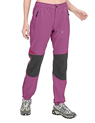 Little Donkey Andy Women's Lightweight Quick Dry Hiking Pants Reinforced Knees UPF 50 for Mountain Climbing Camping Rose Violet XL