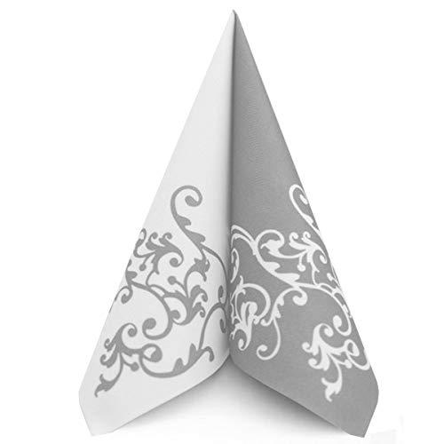 Servietten Pomp Silber-Weiß Tischdeko Hochzeitsdeko Servietten falten 50Stk 40x40cm