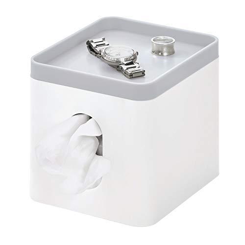 iDesign Kosmetiktücherbox, kleine Aufbewahrungsbox für Papiertücher aus Kunststoff, Taschentuchbox mit Ablage für Schmuck und Schminke, weiß und grau