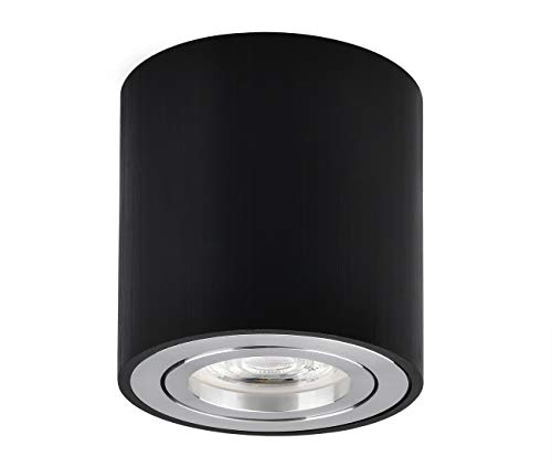 Foco de techo LED en superficie Luminaria de superficie giratorio 230V, Incluye GU10 LED intercambiable de 5W 3000K blanco cálido Downlight LED de superficie Ø80x84mm, redondo Negro cepillado
