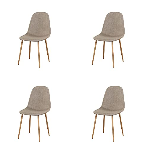 VERDELZ Linen/Leather/Velvet Dining Chair with Burlywood Color Metal Legs for Dining Room, Living Room, Office, Khaki
