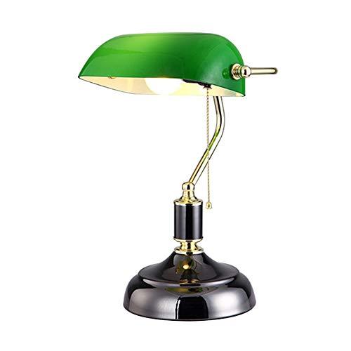 CCSUN Traditionellen Banker lampe Bett Tischlampe, Vintage Tischleuchte Mit Glas lampenschirm Weiche beleuchtung E27 Für Schlafzimmer Essen Wohnzimmer-schwarz