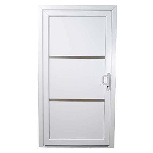 HORI® Haustür Toulouse I Kunststoff Haustüre Eingangstüren Aussentür mit Glaseinsatz I Farbe: Weiß I DIN Rechts I Modell: Toulouse I 2000 x 1000 mm