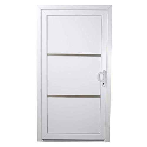 HORI® Haustür Toulouse I Kunststoff Haustüre Eingangstüren Aussentür I Farbe: Weiß I DIN Links I Modell: Toulouse I 2000 x 1000 mm