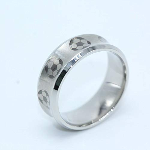 GMZDD Fußball Muster Runde Fingerring Silber Fußball Edelstahlringe Für Männer Einzigartig EIN einzigartiger Ring kann Ihnen viel Glück bringen Silber 11