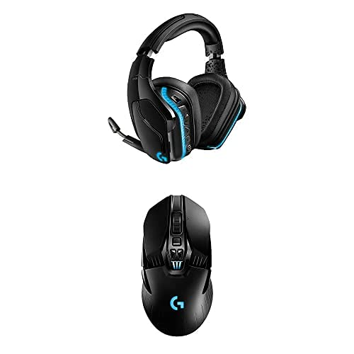 Logitech G935 Wireless DTS:X 7.1 Surround Sound LIGHTSYNC RGB PC Gaming Headset - Black, Blue & G903 Lightspeed Wireless Gaming Mouse W/Hero 16K Sensor, 140+ Hour with Rechargeable Battery