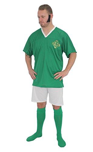 Adultos Irlanda Ftbol Icono George Mejor Kit Fancy Dress & Sideburns[S/M]