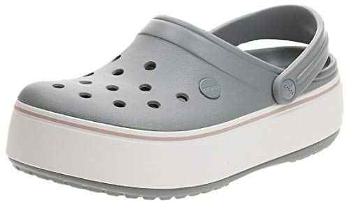Crocs Crocband Platform Clog, Light Grey/Rose, 6 US Men / 8 US Women