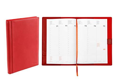 Austauschbare Lederdecke mit Terminplaner 2020, 17 x 24 cm verschiedene Farben rot