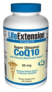 Life Extension Super Ubiquinol CoQ10 mit erweiterter Mitochondrial-Support, 50 mg - 100 softgels