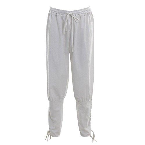 Pantalones de Hombre del Renacimiento Pantalones Vikingos Medievales Pantalones de Vikingos para Hombres Pantalones de Traje Pantalones (Blanco, XL)