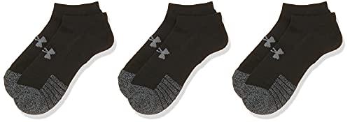 Under Armour Unisex Ua Heatgear Ns atmungsaktive Füßlinge im 3er-Pack, Sportsocken mit dynamischem Halt und Flexibilität, Schwarz / Schwarz / Stahl, M