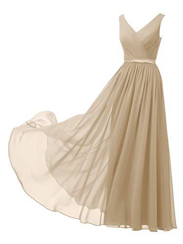Alicepub V-Neck Champagne Bridesmaid Dresses Chiffon Long Maxi Formal Dress for Women Party Evening Sleeveless, US2