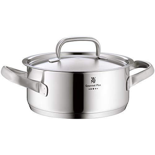 WMF Gourmet Plus Kochtopf 20cm, Metalldeckel, Bratentopf Induktion 2,5l, Cromargan Edelstahl mattiert, Innenskalierung, Dampföffnung