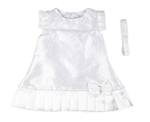 Robe de cérémonie et baptême avec Bandeau - bébé Fille - Blanc