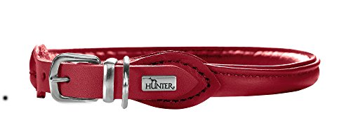 Hunter - Collar Redondo y Suave de Piel de Alce de níquel pequeño, Color Rojo