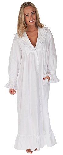 The 1 for U 100% Baumwolle Viktorianisches Stil Nachthemd/Hausmantel Amelia XS - Weiß, Weiß, XXL