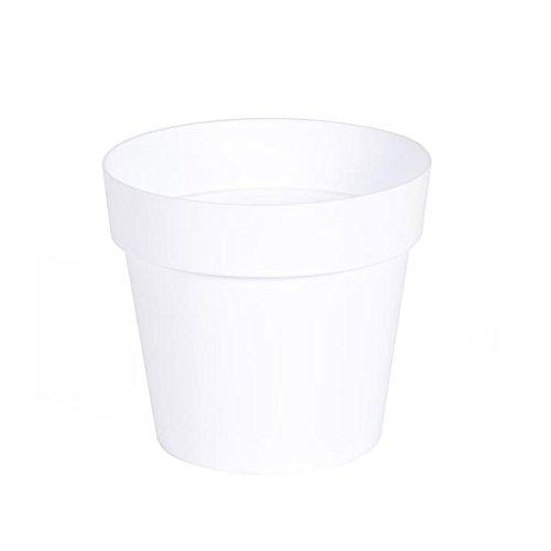EDA Plastiques - Pot de Fleur - Pot de Fleur Toscane Ø 15 x 13,6 cm Rond - 1,6L Blanc
