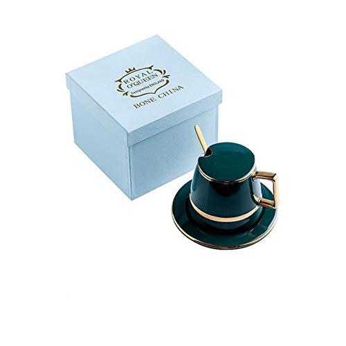 WYCYZJ Europese Luxe Keramiek Koffiekop Sets Met Deksel Schotel Lepel Pak Melk Thee Koffie Groene DrinkwareMokken450 ml, 450 ml